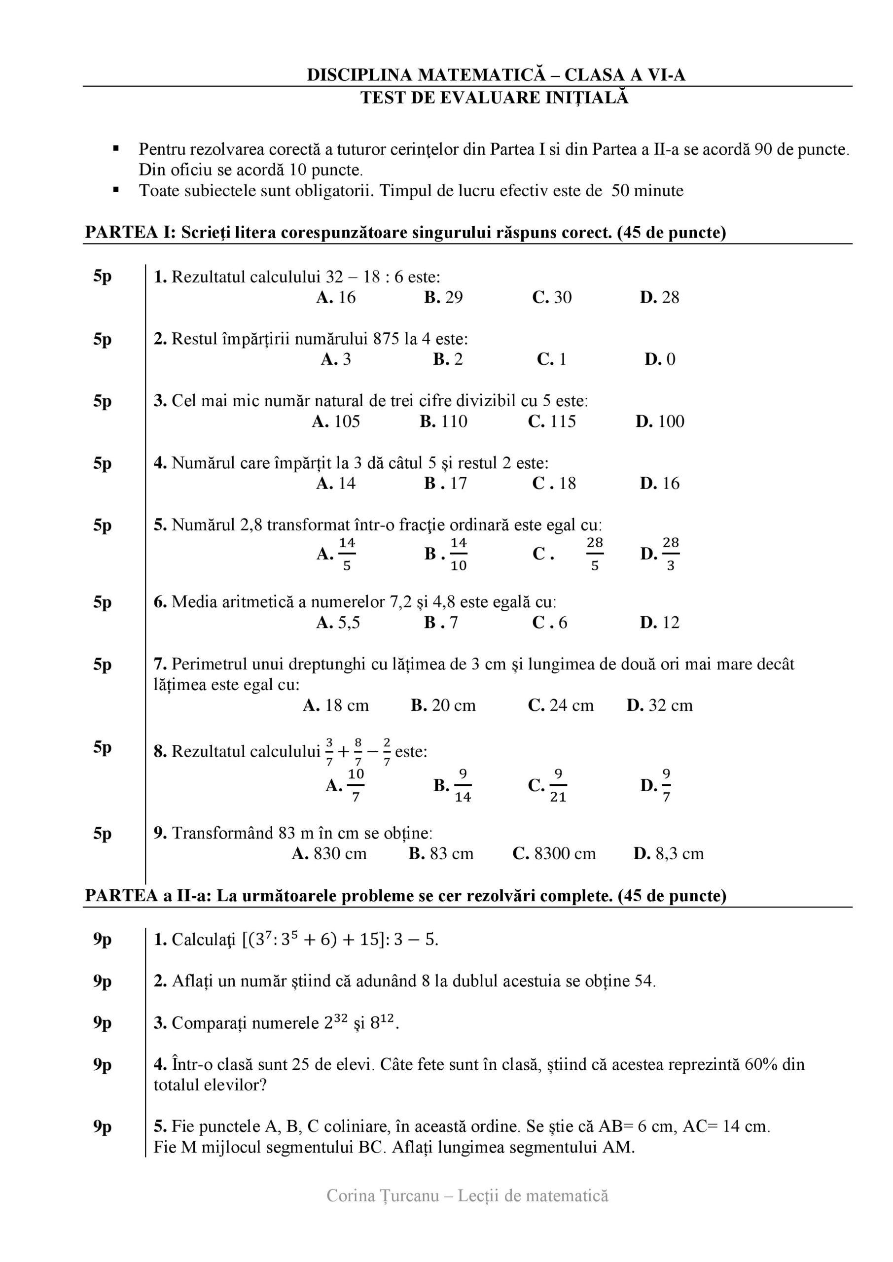 Test initial matematica pentru clasa a sasea