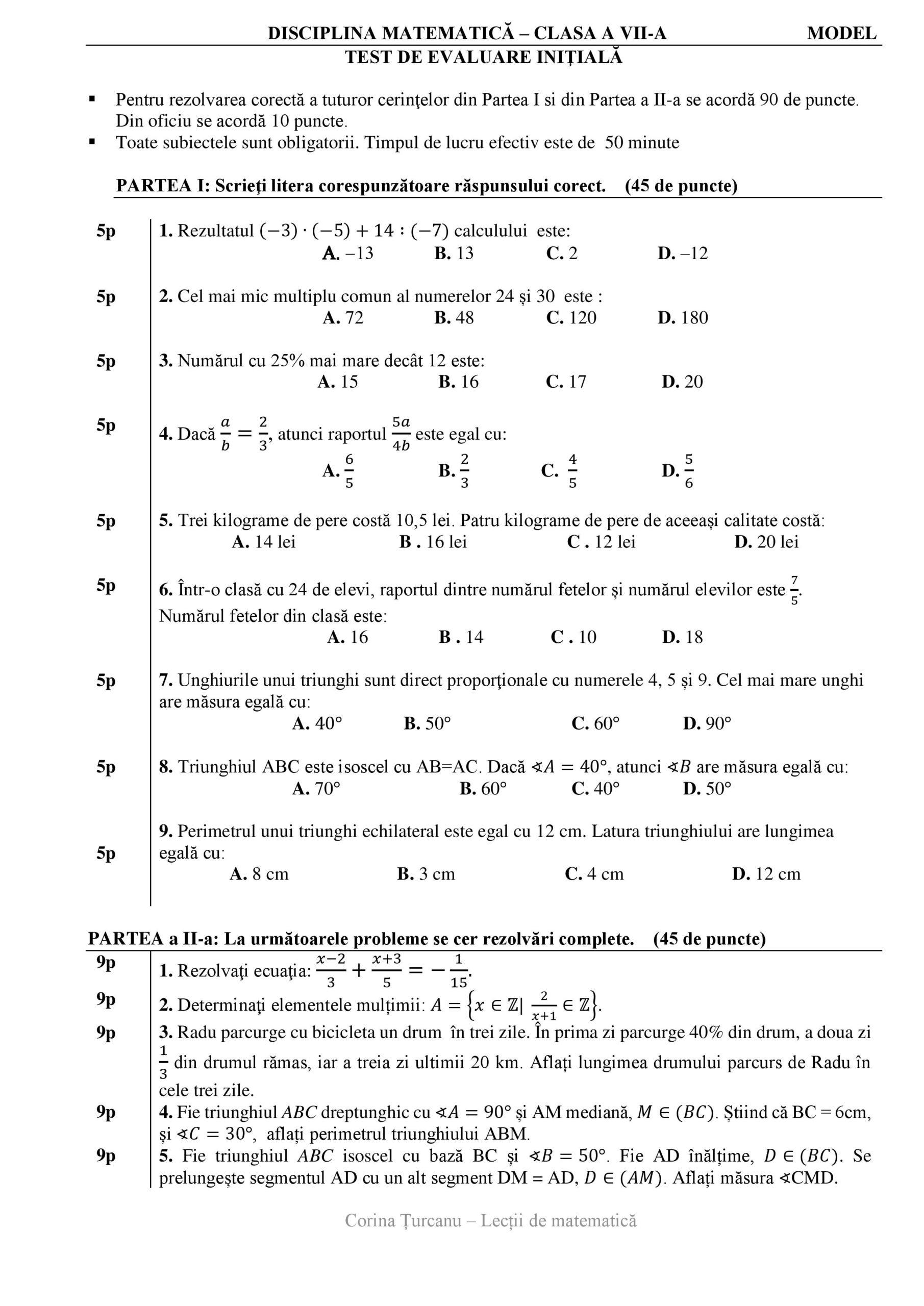 Test initial matematica pentru clasa a saptea