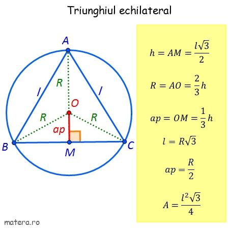 latura, apotema triunghi echilateral, aria triunghiului echilateral formule de geometrie pentru Evaluare Nationala