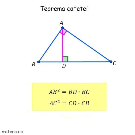 teorema catetei in triunghiul dreptunghic