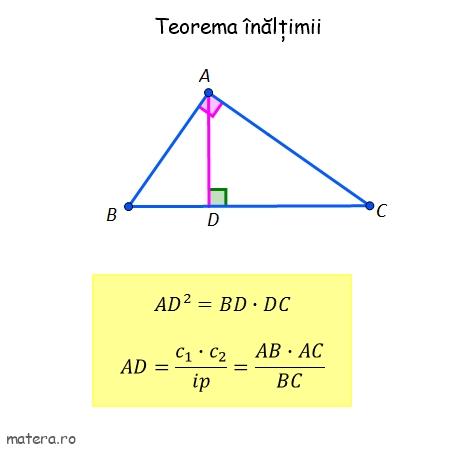 teorema inaltimii in triunghiul dreptunghic formule de geometrie pentru Evaluare Nationala