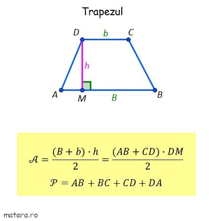 formule de geometrie pentru Evaluare Nationala aria trapezului formula arie trapez perimetru trapez