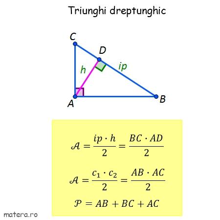 arie triunghi dreptunghic