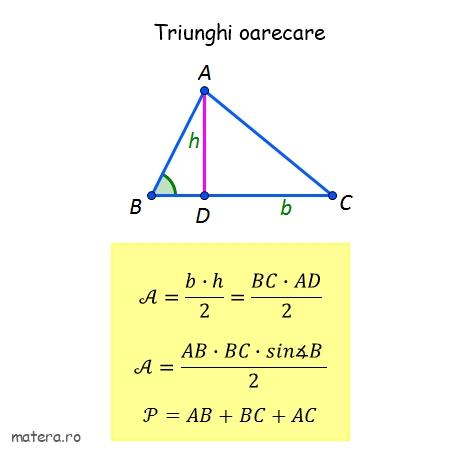 formule de geometrie pentru Evaluare Nationala arie triunghi