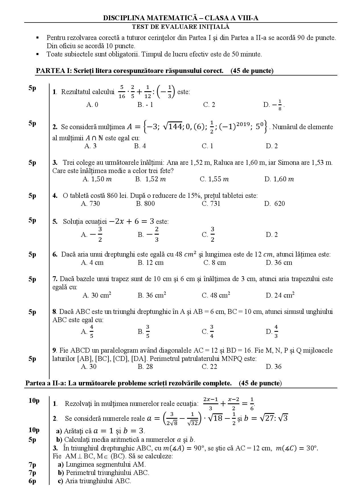 test initial matematica clasa 8